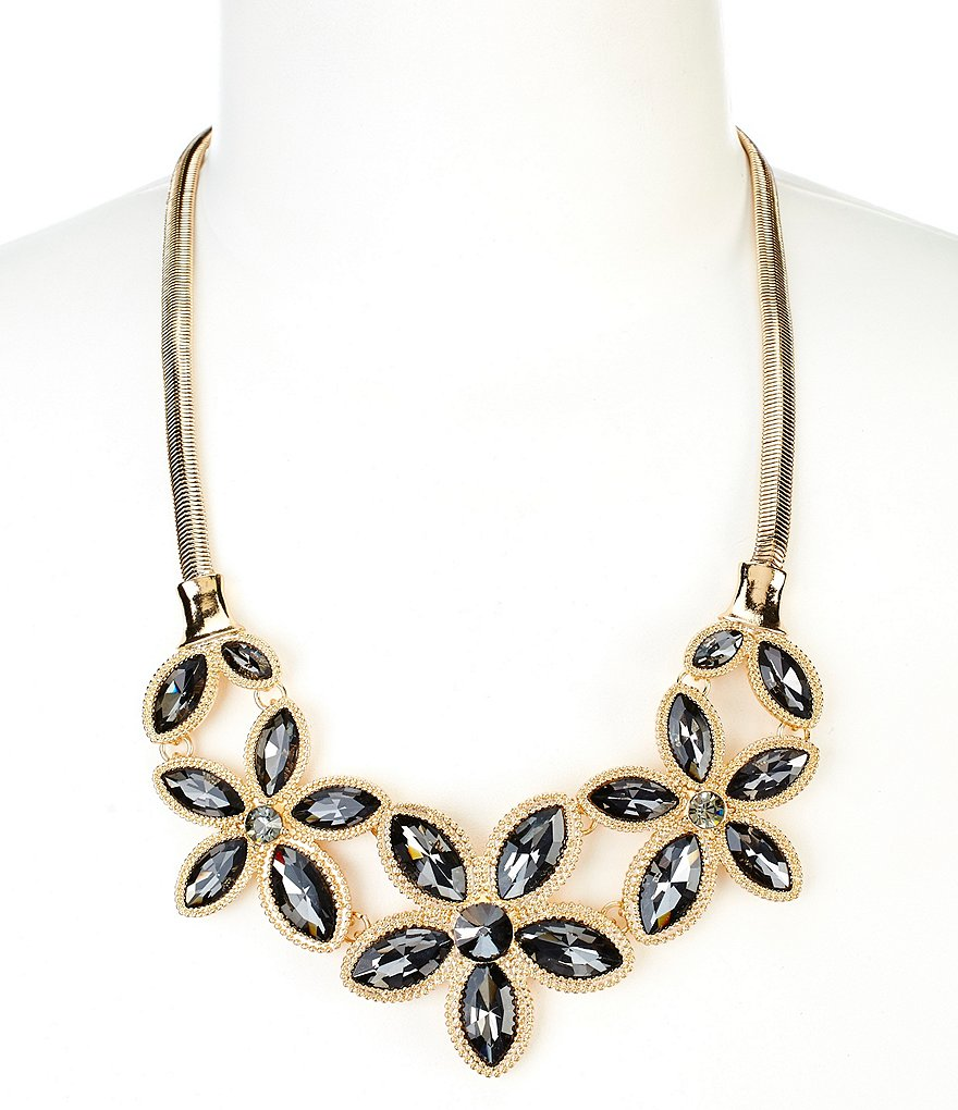 Natasha Accessories Crystal Flower Bib Statement Necklace