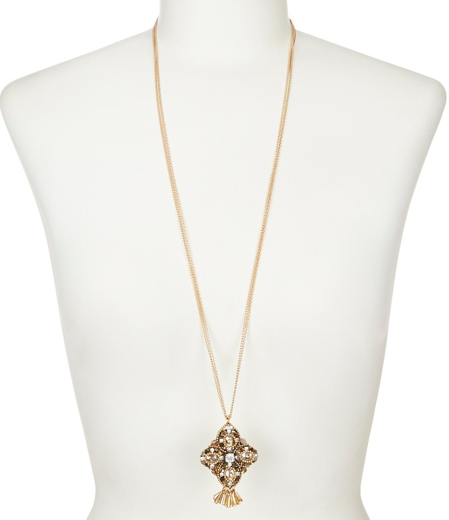 Natasha Accessories Multi-Strand Pendant Necklace