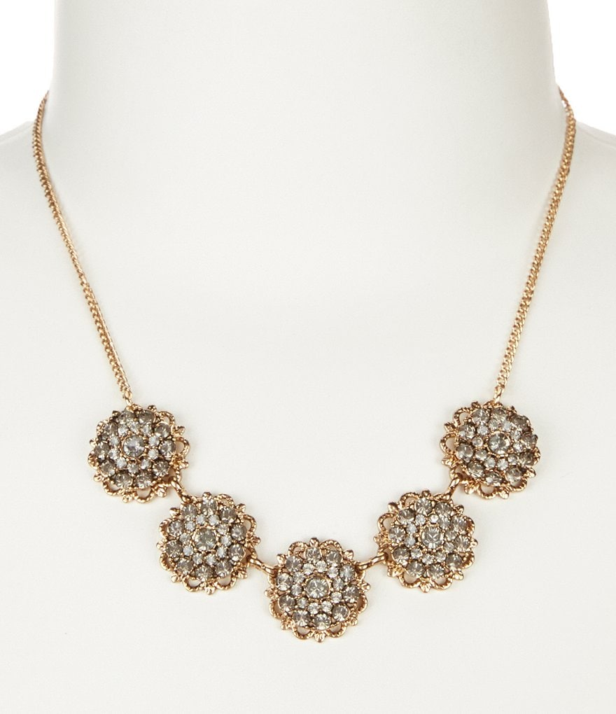 Natasha Accessories Crystal Cluster Flower Collar Necklace