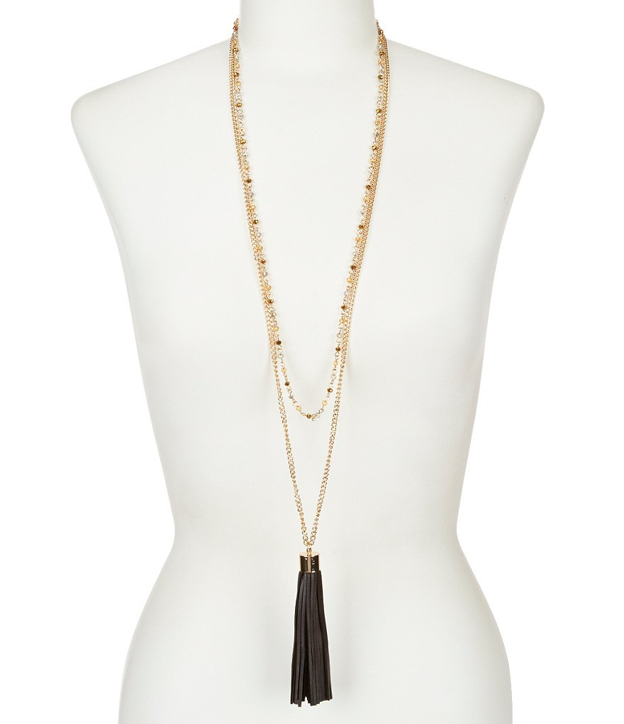 Natasha Accessories Multi-Strand Leather Tassel Pendant Necklace