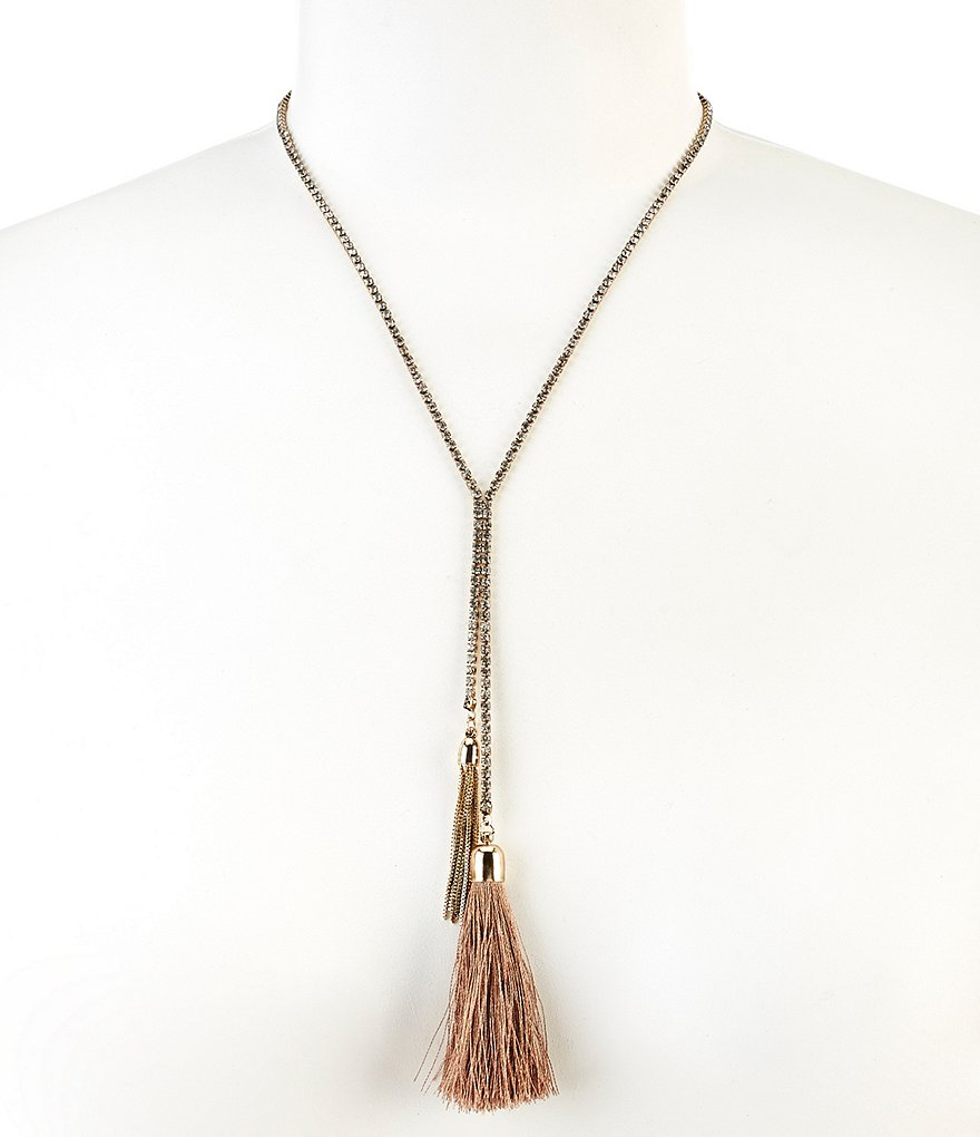 Natasha Accessories Faux Lariat Tassel Y-Necklace