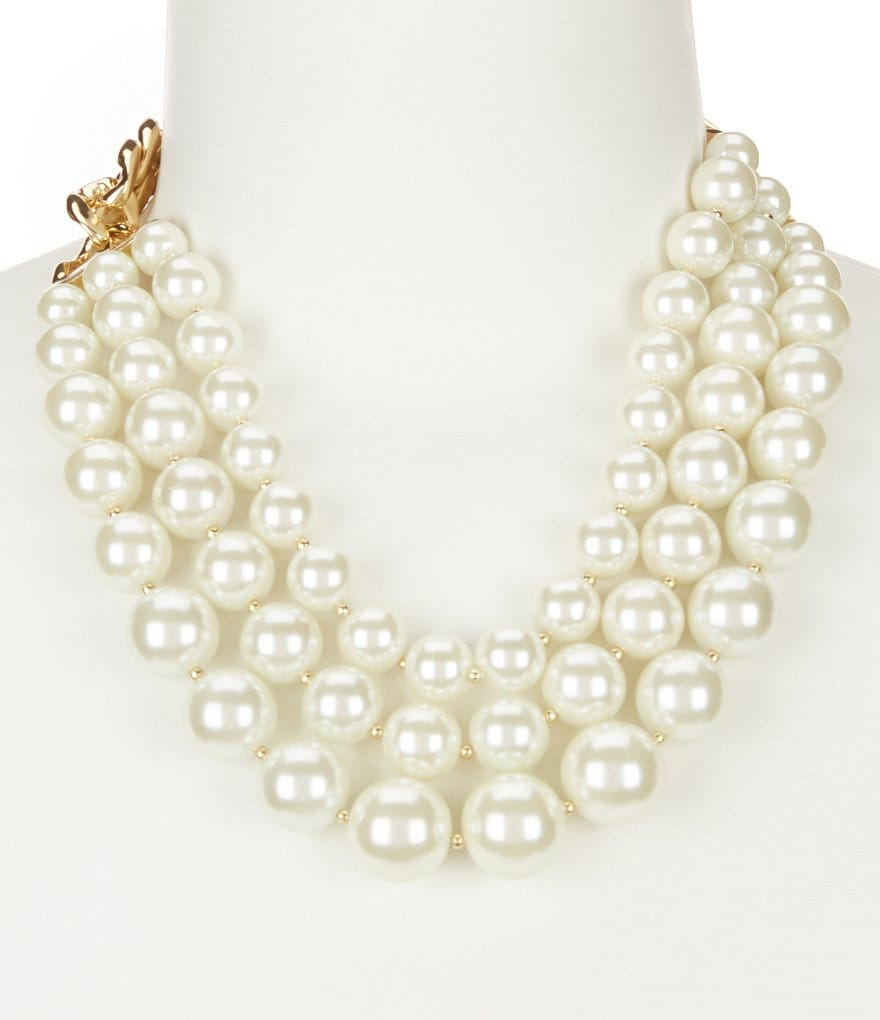 Anne Klein Blanc Pearl Multi Row Collar Necklace