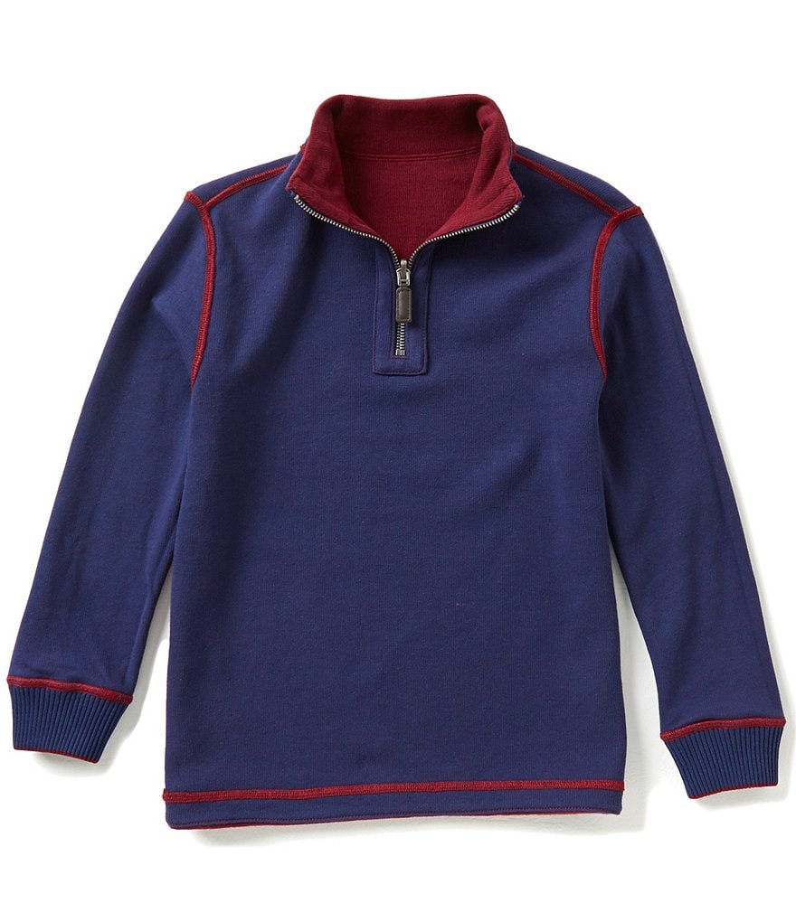 Class Club Big Boys 8-20 Reversible Quarter-Zip Pullover
