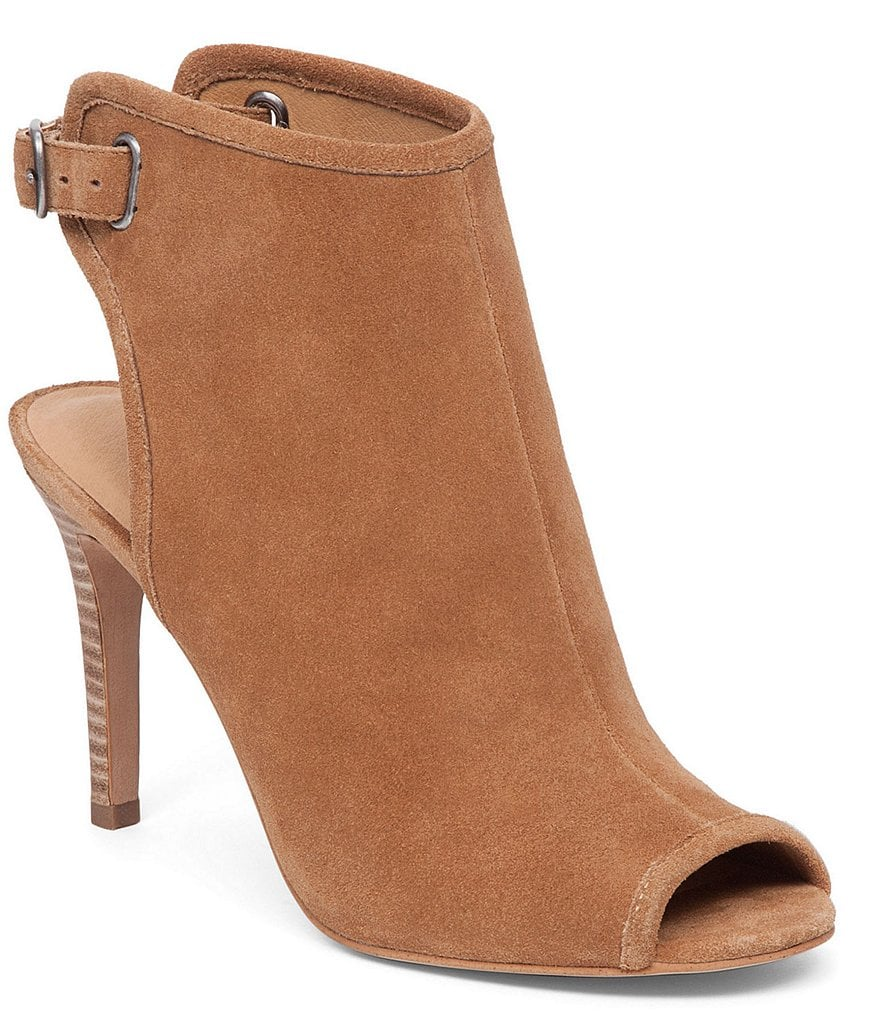 Lucky Brand Sezzah Buckle Peep Toe Leather Shooties