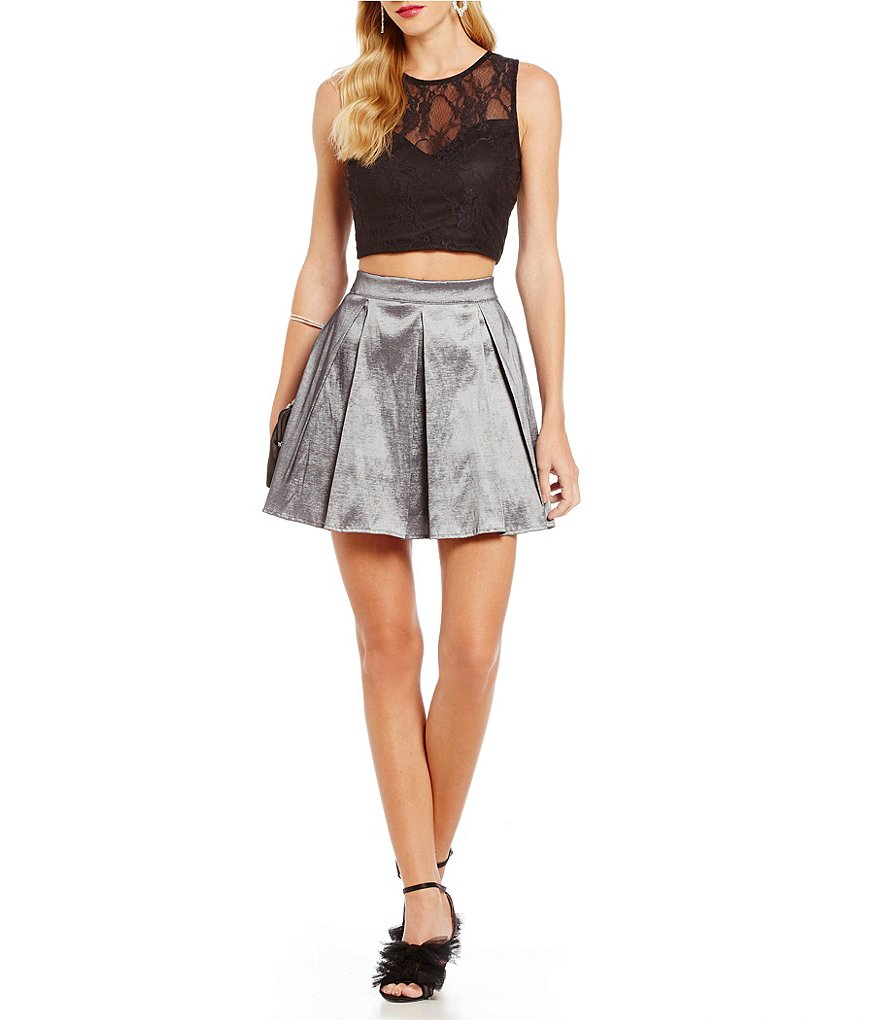 Teeze Me Lace Bodice Two-Piece Party Dress