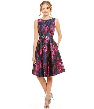 Eliza J Floral Beaded Belt Sleeveless Floral Fit and Flare Dress