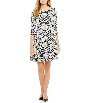 Eliza J Jacquard 3/4 Sleeve Fit and Flare Dress