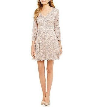 Eliza J V-Neck Bell Sleeve Lace Dress