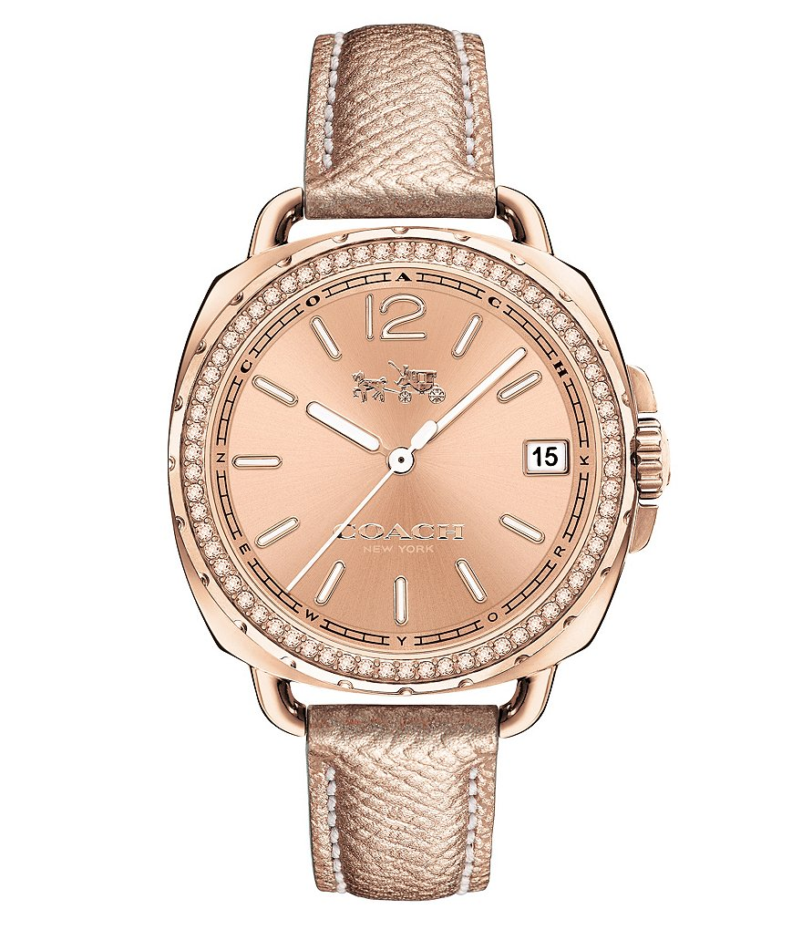COACH TATUM PAVE ROSE GOLDTONE DIAL LEATHER STRAP WATCH