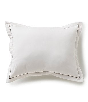 Barbara Barry Melody Line-Embroidered Cotton Percale Throw Pillow