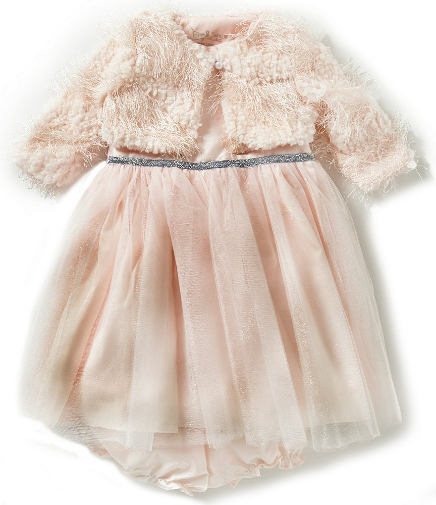 Pippa & Julie Baby Girls 12-24 Months Faux-Fur Cropped Jacket & Sheer-Overlay-Skirted Dress