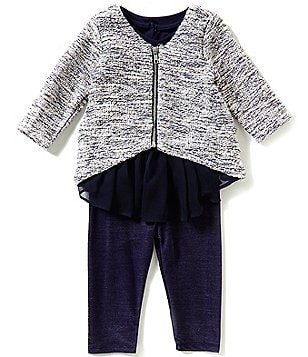 Pippa & Julie Baby Girls 12-24 Months Zip-Front Cardigan & Flounce-Hem Dress & Leggings Set