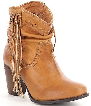 Naughty Monkey Noe Fringe Detail Leather Slouchy Top Block Heel Booties