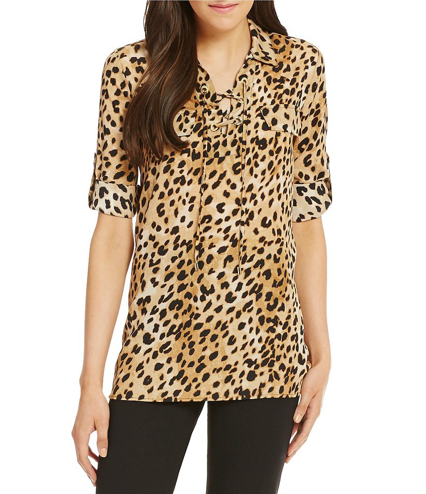 Calvin Klein Lace-Up Neck Printed Roll-Tab Sleeve Top