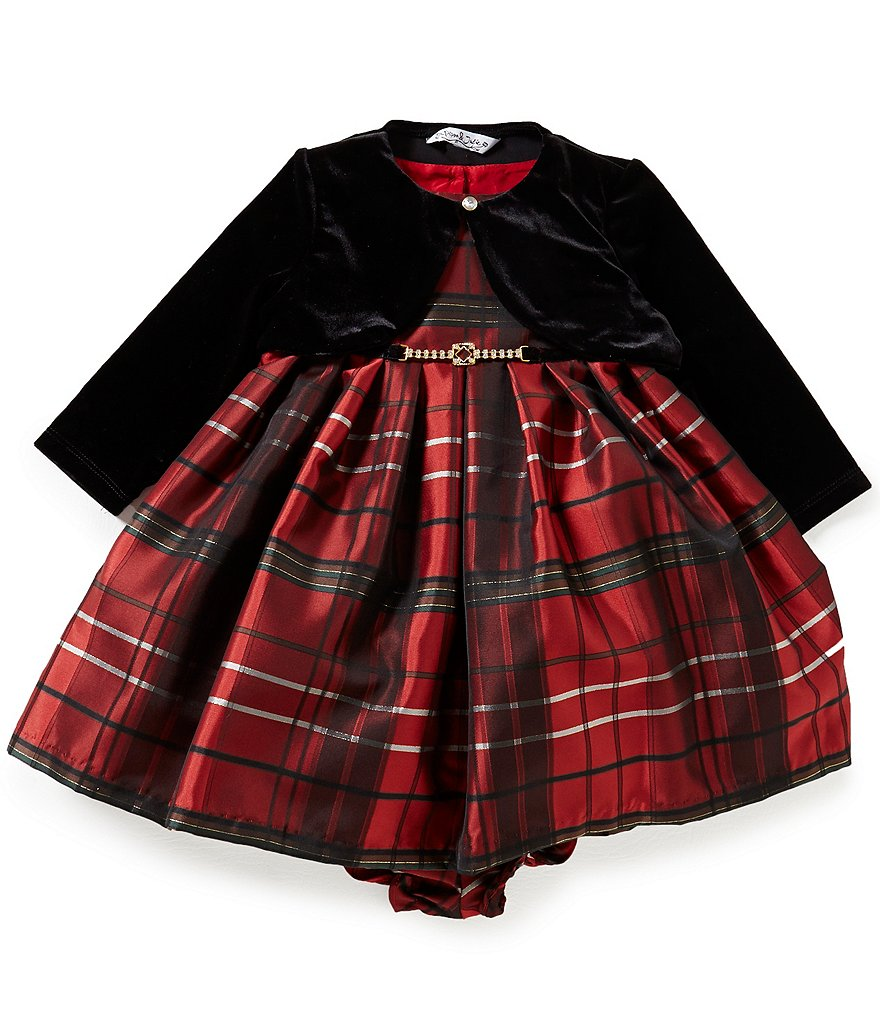 Pippa & Julie Baby Girls 12-24 Months Long-Sleeve Velvet Jacket & Christmas Plaid Dress Set