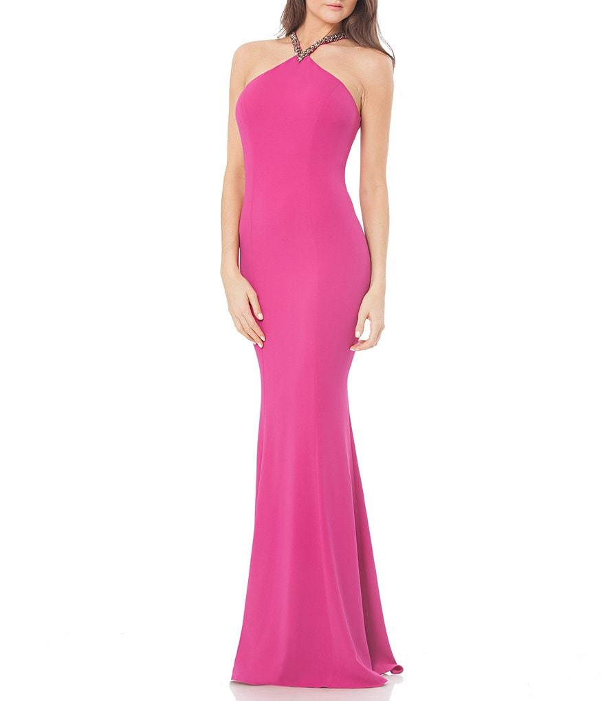 Carmen Marc Valvo Infusion Beaded Halter Solid Crepe Gown