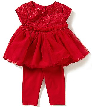 Pippa & Julie Baby Girls Newborn-9 Months Lace-Bodice Dress and Leggings Set