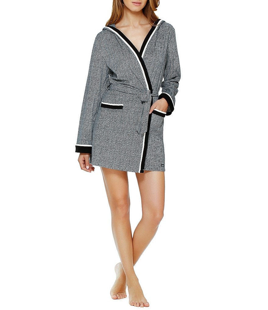 Kensie Chevron Hooded Robe