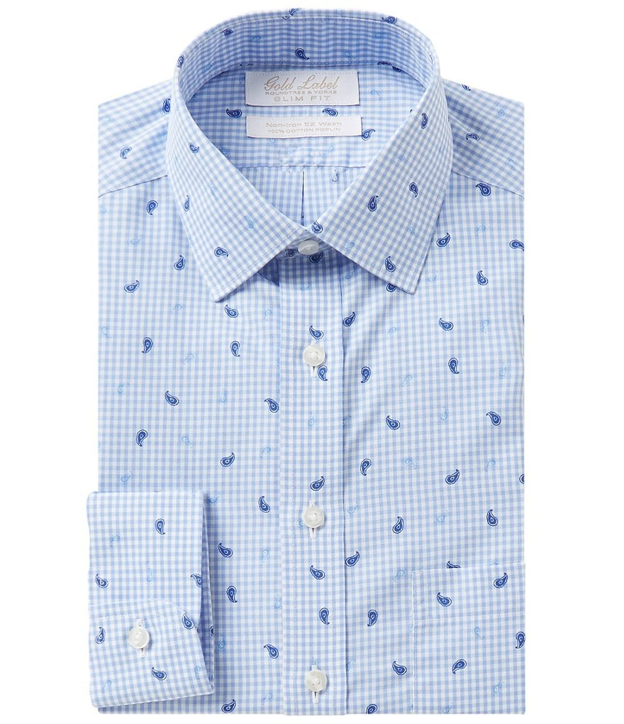 Gold Label Roundtree & Yorke Non-Iron Slim-Fit Spread Collar Gingham Paisley Print Dress Shirt