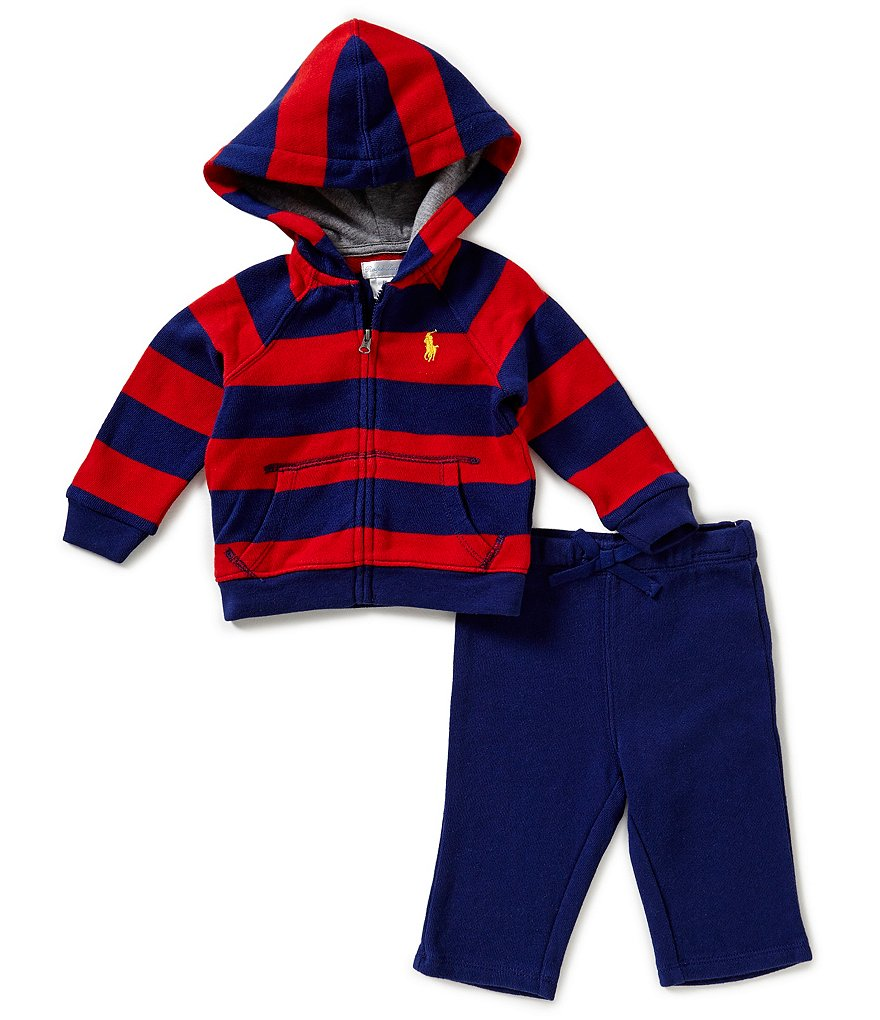 Ralph Lauren Childrenswear Baby Boy 3-24 Months Wide-Striped French Terry Hoodie and Solid Pants Set