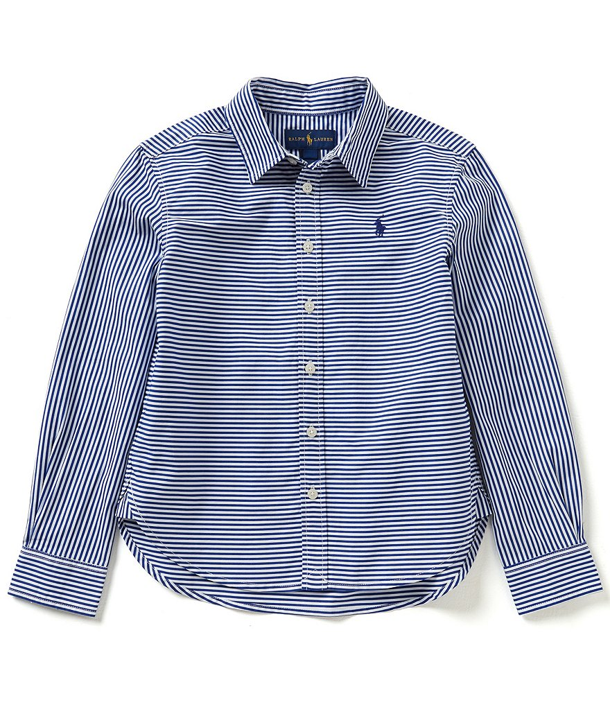 Ralph Lauren Childrenswear Big Girls 7-16 Mixed-Stripe Woven Shirt