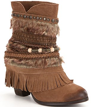 Naughty Monkey Faux Fur and Fringe Sanchez Booties