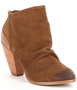 Naughty Monkey Sereena Leather Slouchy Top Block Heel Booties