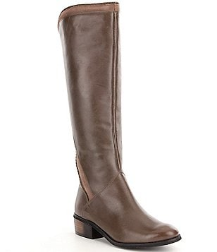 Naughty Monkey Everlasting Leather Tall Braided Suede-Trimmed Boots