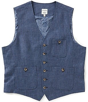 Murano Linen Button-Front Single-Breasted Vest