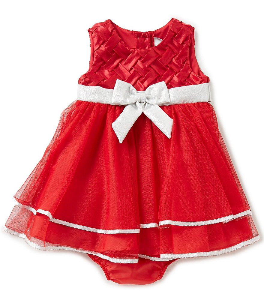 Rare Editions Baby Girls 12-24 Months Holiday Basket-Weave Dress