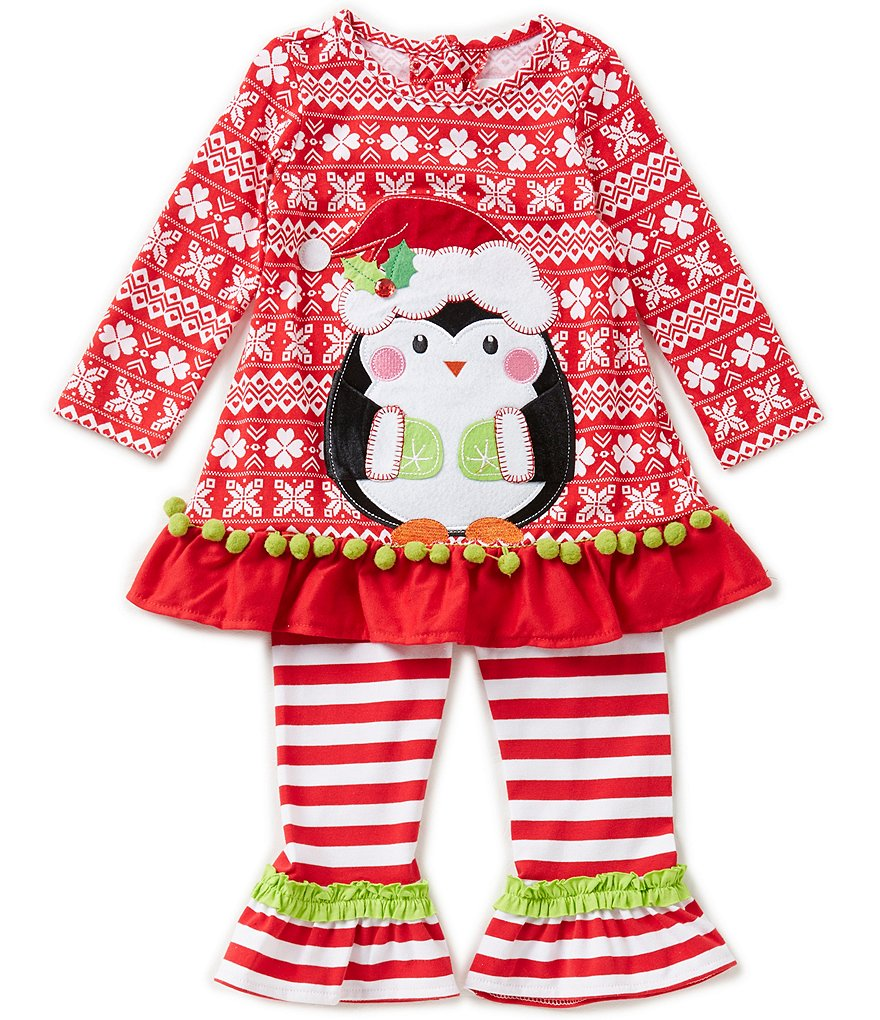 Rare Editions Baby Girls 12-24 Months Christmas Penguin Top and Leggings Set