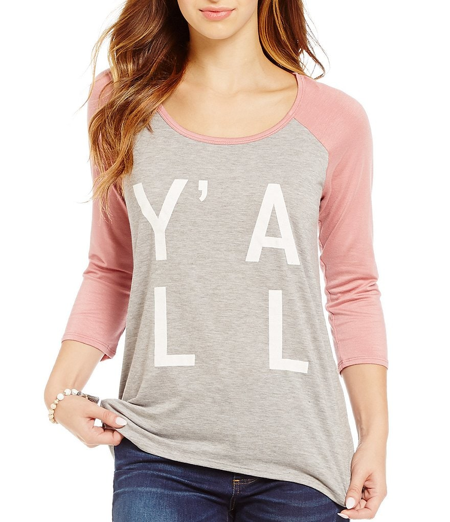 Moa Moa Raglan Y´all Screen Print Graphic Tee