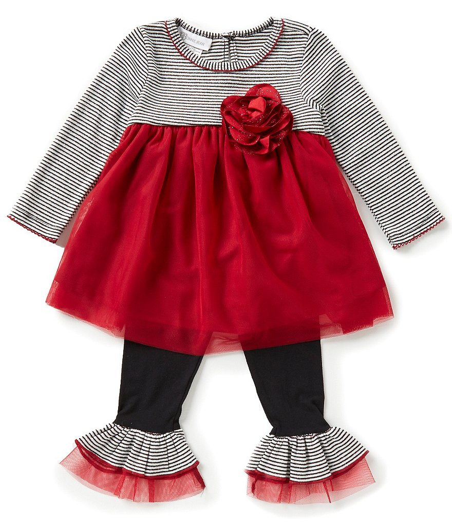 Bonnie Jean Little Girls 2T-6X Striped-Floral Appliqué Top & Pants Set
