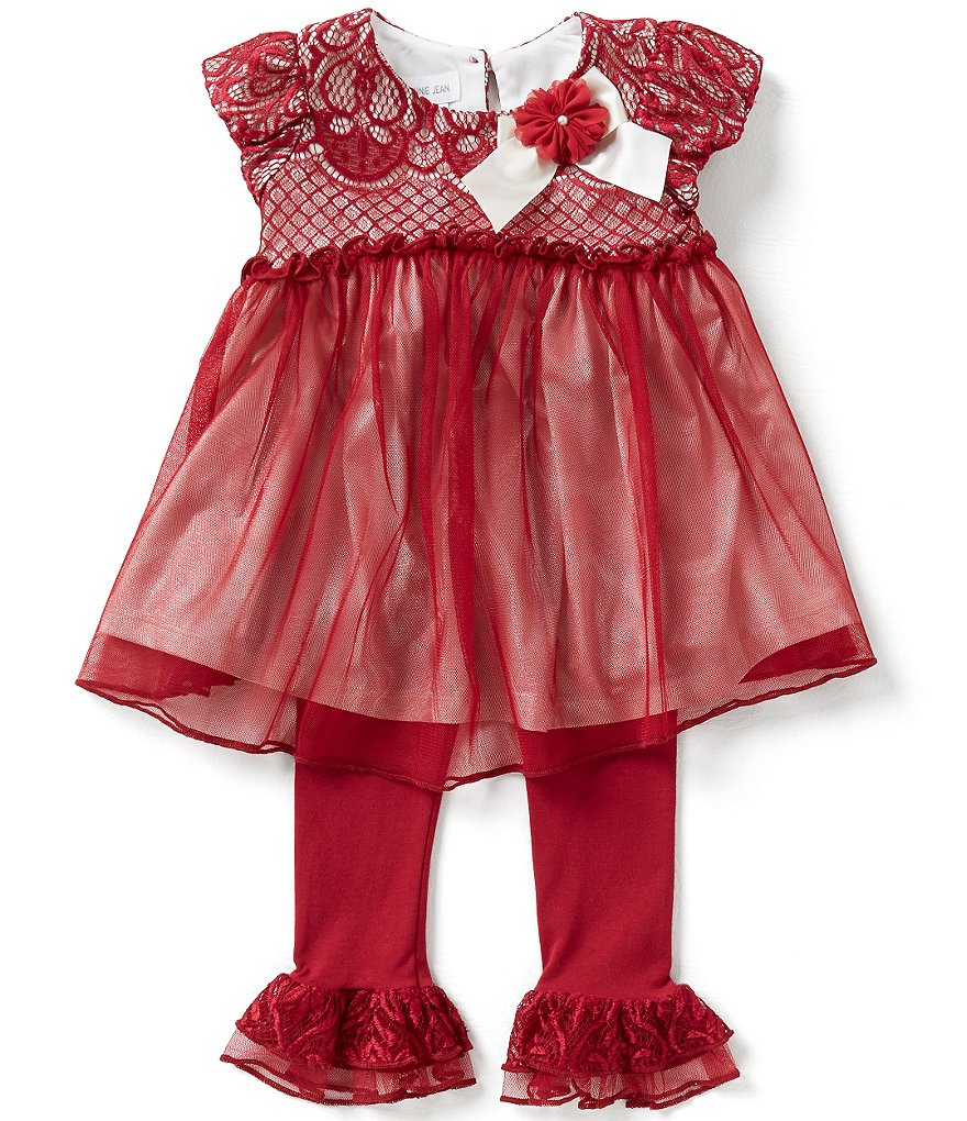 Bonnie Jean Little Girls 2T-6X Lace Mesh Dress and Pants Set