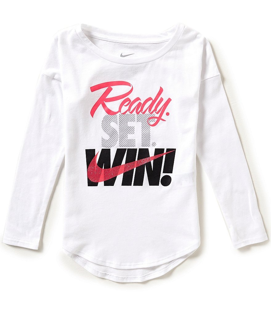 Nike Little Girls 4-6X Ready Set Win Long-Sleeve Tee