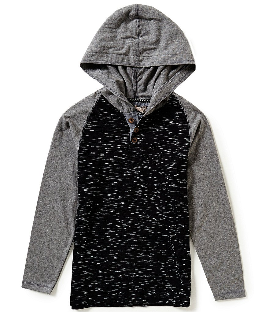 First Wave Big Boys 8-20 Space-Dyed Color Block Hooded Henley Shirt