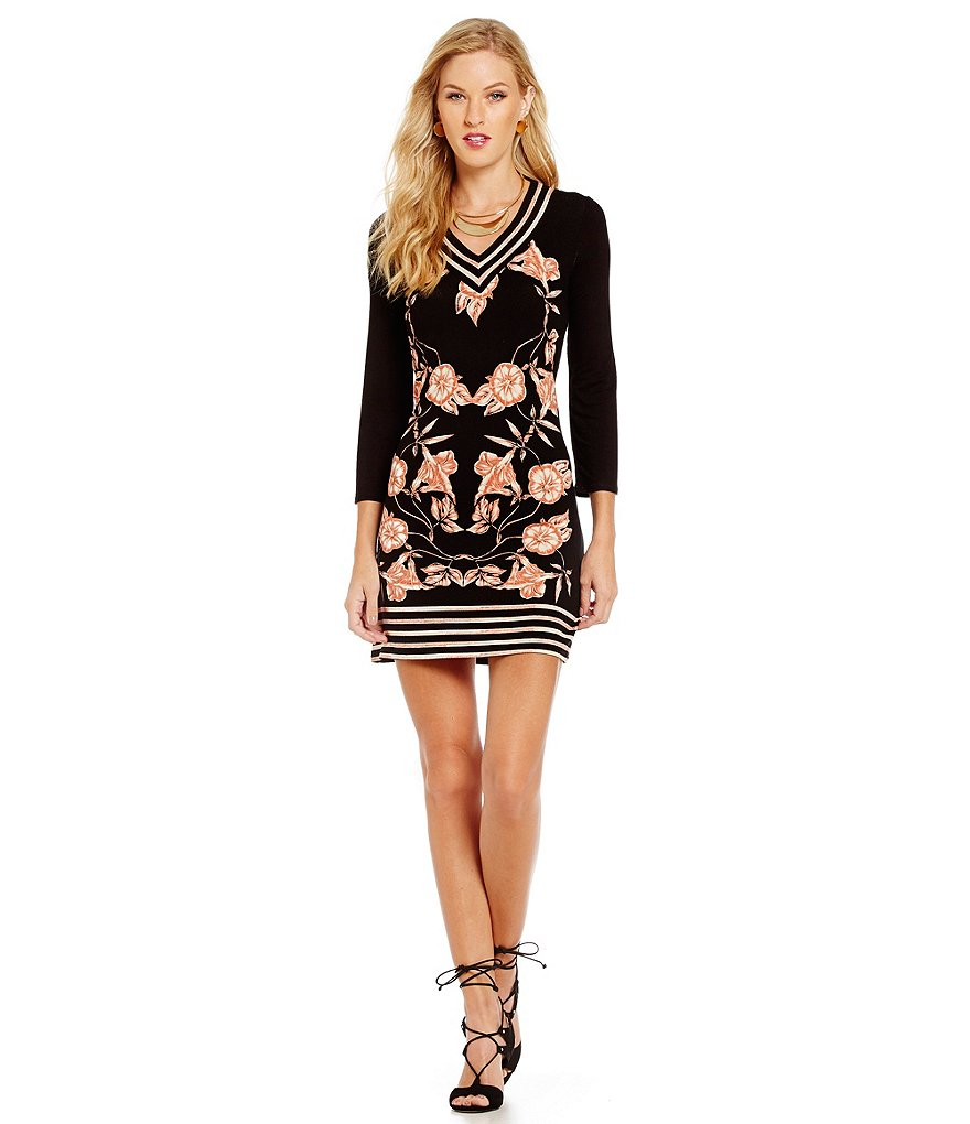 M.S.S.P. Floral V-Neck 3/4 Sleeve Jersey Knit Dress
