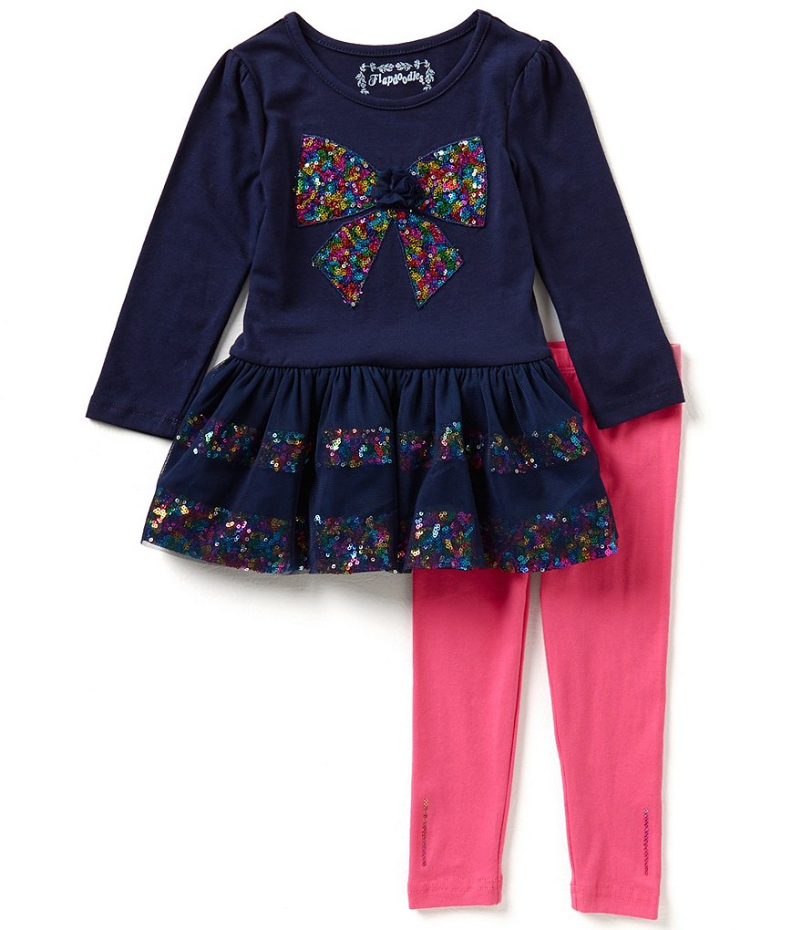 Flapdoodles Little Girls 2T-6X Sequin-Bow Dress and Leggings Set