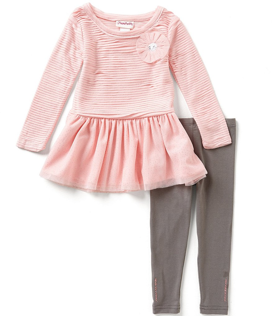 Flapdoodles Little Girls 2T-6X Sparkle-Mesh Dress and Leggings Set
