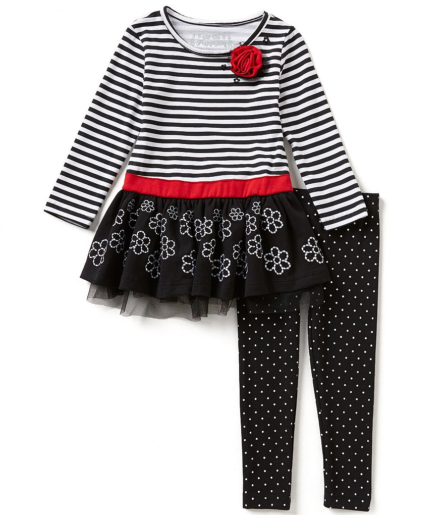 Flapdoodles Little Girls 2T-6X Striped-Floral Top and Dotted Leggings Set