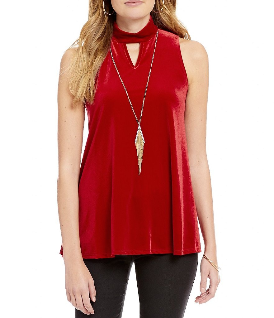 I.N. San Francisco Sleeveless Velvet Mock Neck Tunic