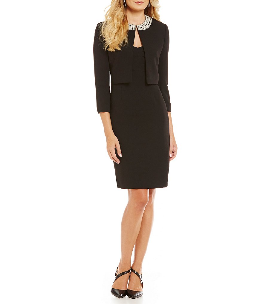 Tahari ASL Pearl Neck Ruched Jacket Dress