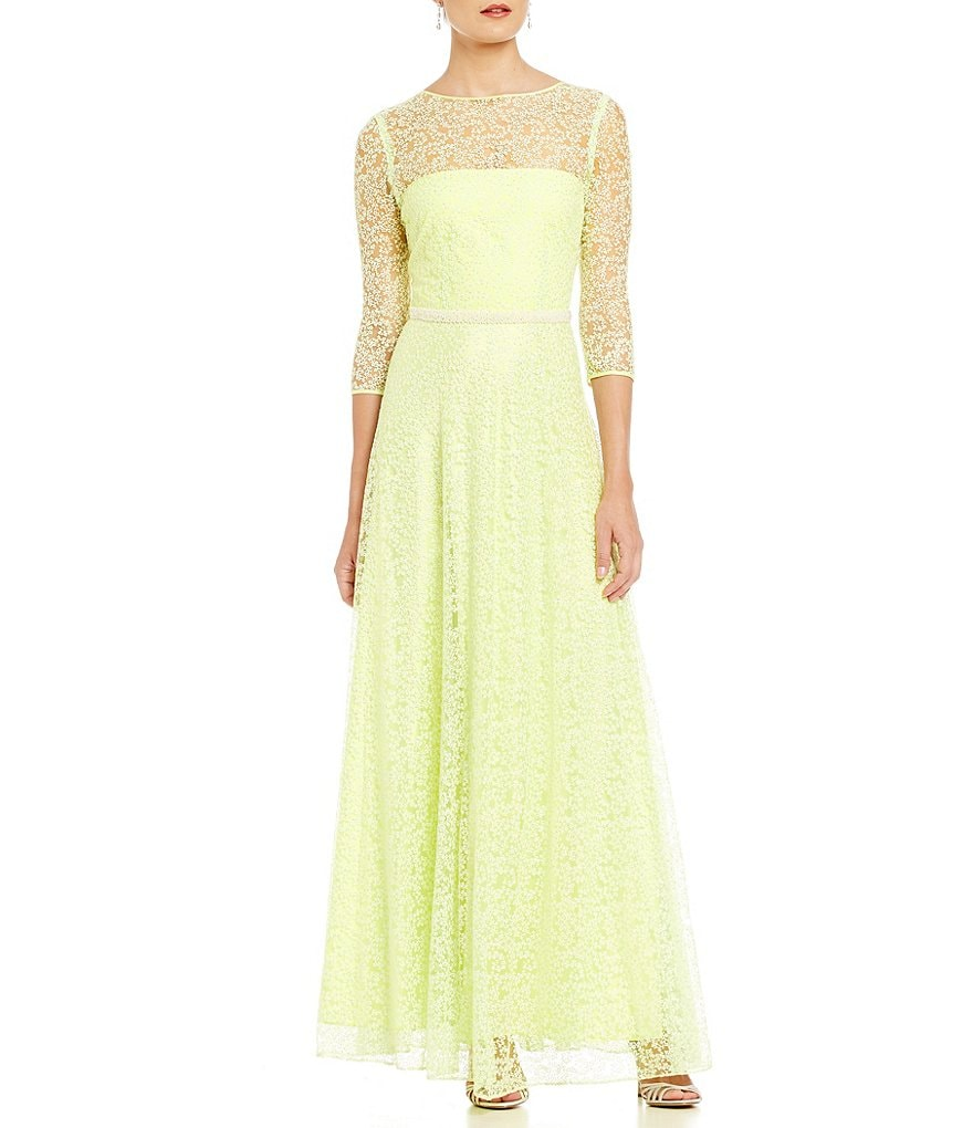 Tahari ASL Floor Length Beaded Belt Gown
