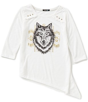 Takara Little Girls 4-6X Asymmetrical-Hemline Screenprint Tee