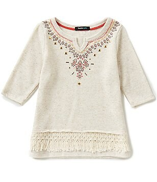 Takara Little Girls 4-6X Embellished Fringe Top