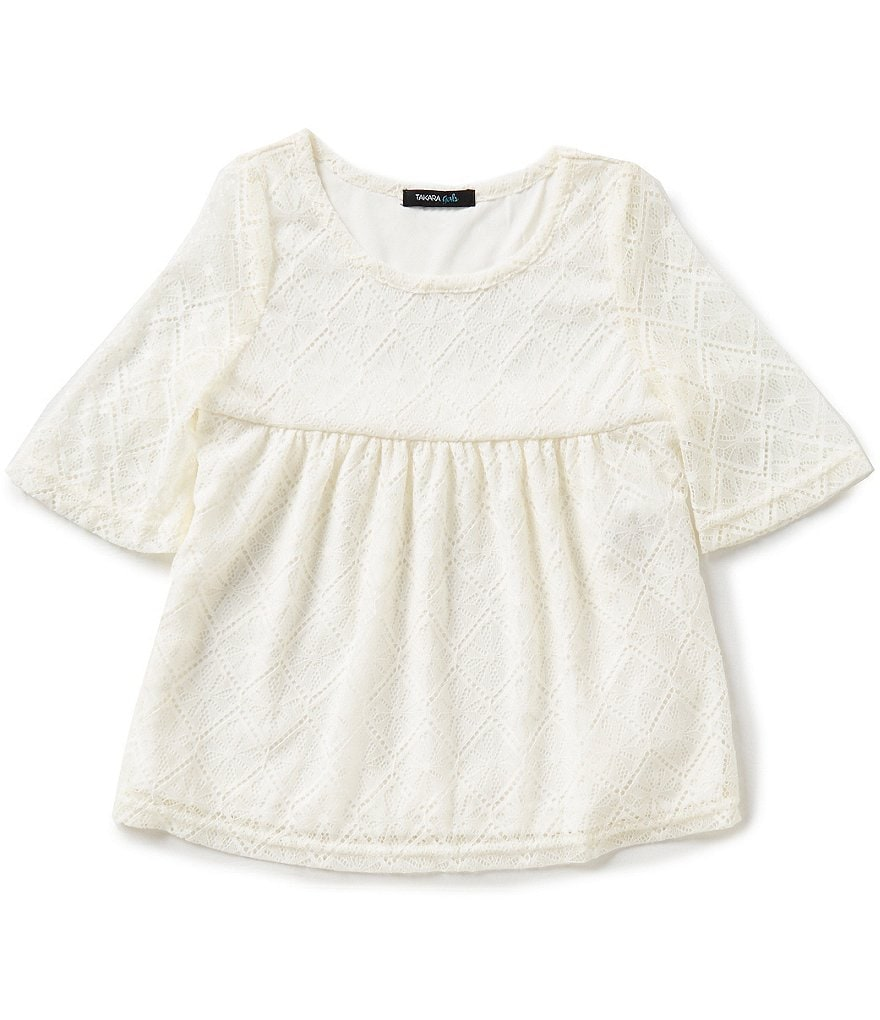 Takara Little Girls 4-6X Lace 3/4-Sleeve Top