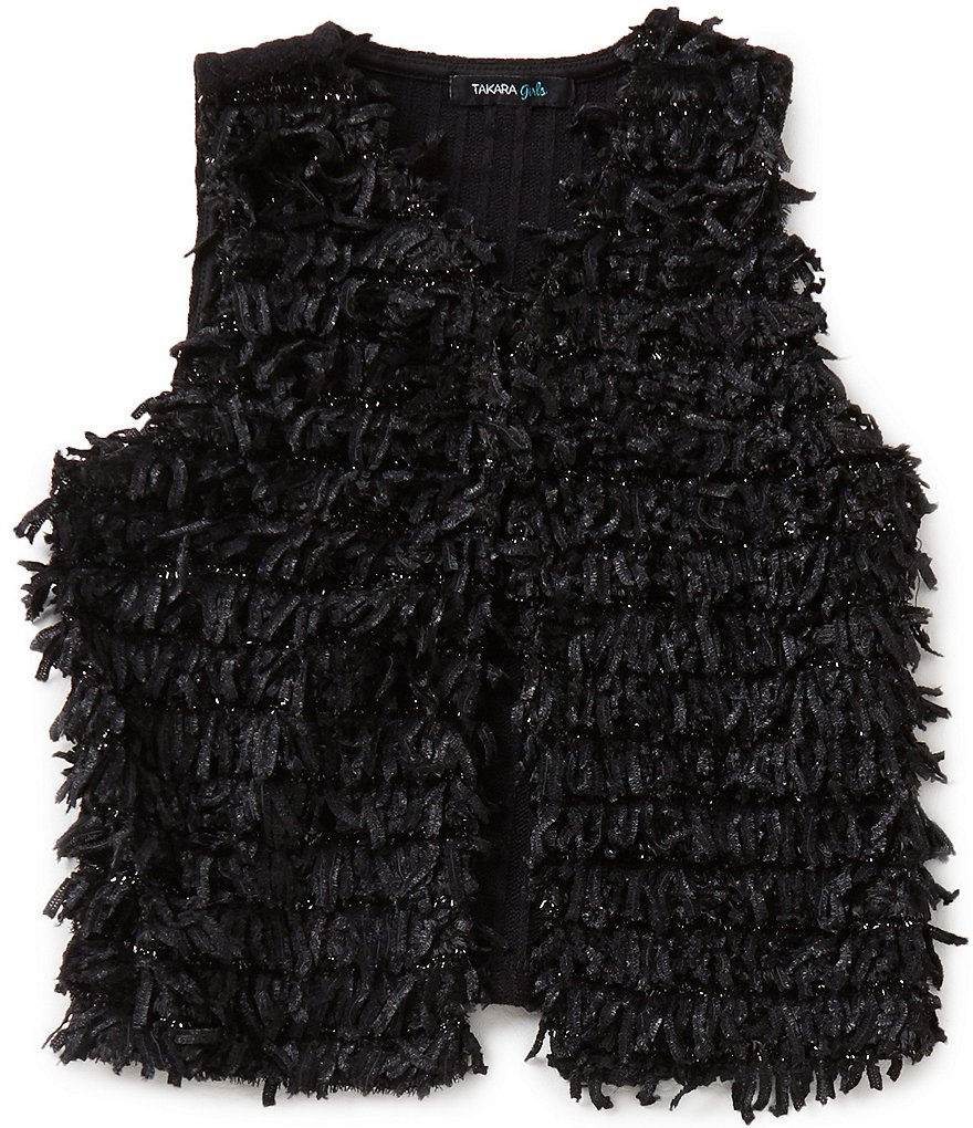 Takara Little Girls 4-6X Sleeveless Fringe Vest