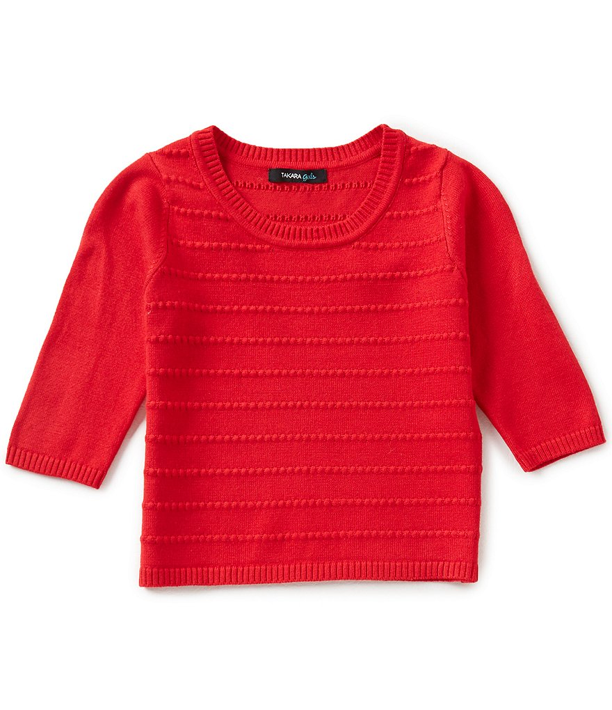 Takara Little Girls 4-6X 3/4 Sleeve Sweater-Knit Top