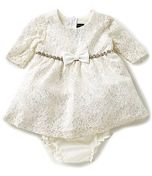 Chantilly Place Baby Girls 12-24 Months Lace Rhinestone-Trim Dress