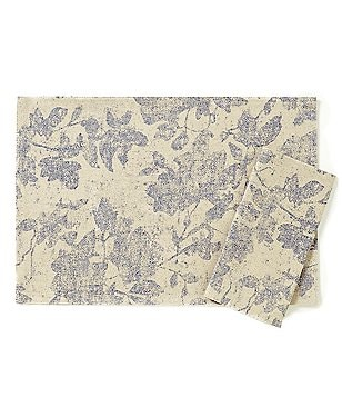 Noble Excellence Woodland Floral Leaf-Print Linen & Cotton Table Linens